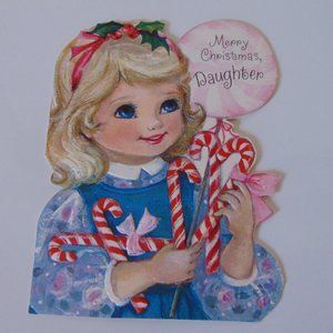 Merry Christmas Daughter 1971 Vintage Paper Card